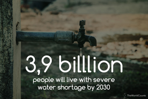 3 9 billion people with water shortage