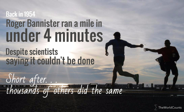 Roger bannister ran a mile in under 4 minutes